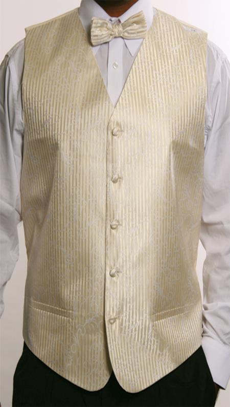 Mens 4 Piece JQD Vest Set  Beige