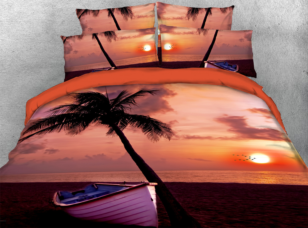 The Setting Sun Sunset and Coconut Tree Four-Piece Set Duvet Cover Set Reactive Printing Hand Wash Polyester Bedding Sets