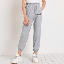 Graue Jogginghose mit Buchstaben Grafik und Papiertaschen auf Taille