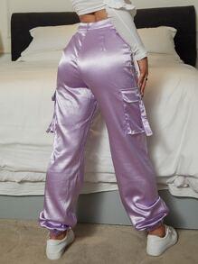 Yilibasha Button Fly Flap Pocket Satin Pants