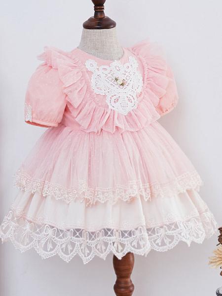 Milanoo Kids Lolita Dress Pink Ruffles Short Sleeve Tutu Dress And Panties