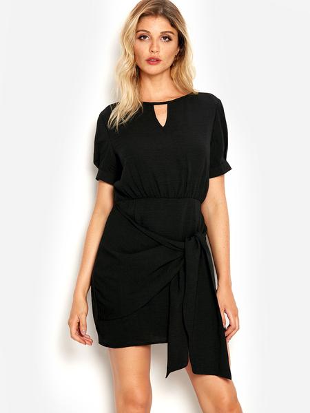 Yoins Black Self-tie Design Cut Out Mini Dress