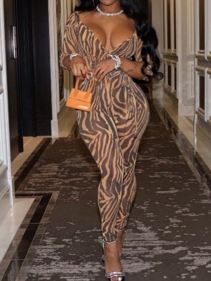 Ericdress Sexy Full Length Zebra Stripe Slim Jumpsuit