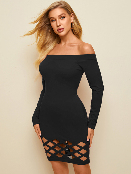 YOINS Off the shoulder Cut out Long sleeves Mini Dress