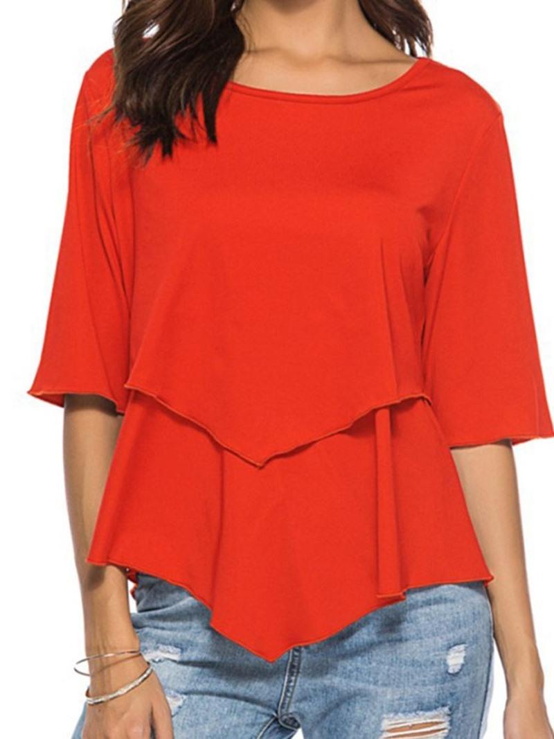 Ericdress Round Neck Plain Mid-Length Casual T-Shirt