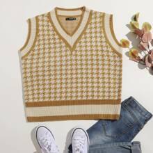 Houndstooth Pattern Cricket Sweater Vest
