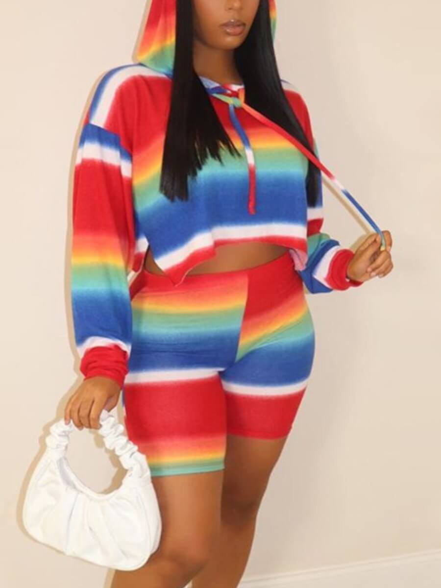 LW Lovely Casual Hooded Collar Striped Patchwork Multicolor Plus Size Two-piece Shorts Set