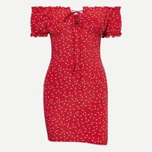 Ditsy Floral Off-the-Shoulder Smocked Mini Dress