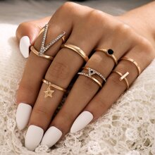 7pcs Rhinestone Decor Ring Set