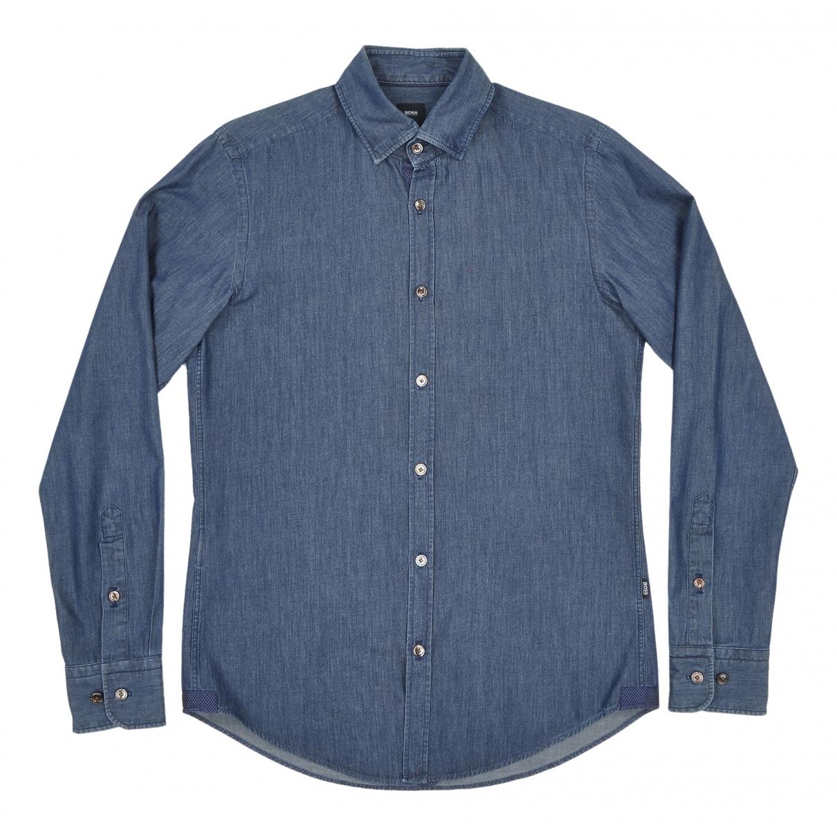 Boss - Chemises   pour homme en coton - marine