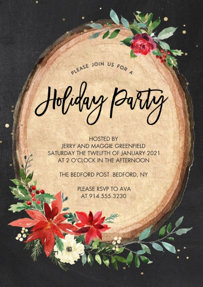 Christmas & Holiday Party Invitations Flat Glossy Photo Paper Cards with Envelopes, 5x7, Card & Stationery -Holiday Invite Wood Plaque by Tumbalina