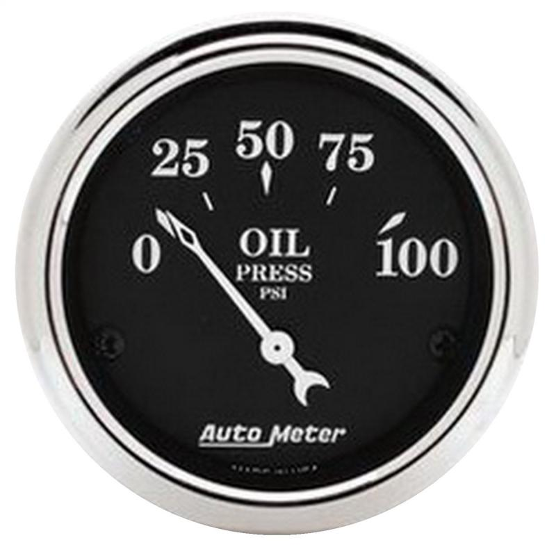 AutoMeter GAUGE; OIL PRESS; 2 1/16in.; 100PSI; ELEC; OLD TYME BLACK