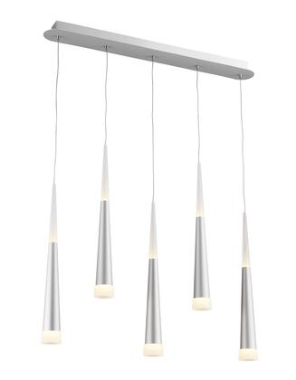 MV08 LED Single Pendant Lighting with Metal and Acrylic Materials and 35 Watts in Sand Silver