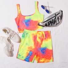 Tie Dye Cami Top and Biker Shorts Set
