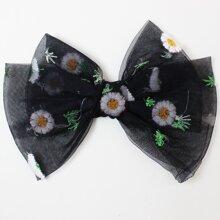 Kleinkind Maedchen Haarspange mit Blumen Stickereien