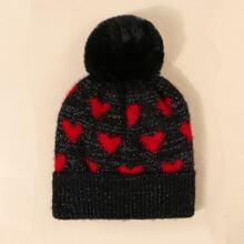 Heart Pattern Knit Beanie