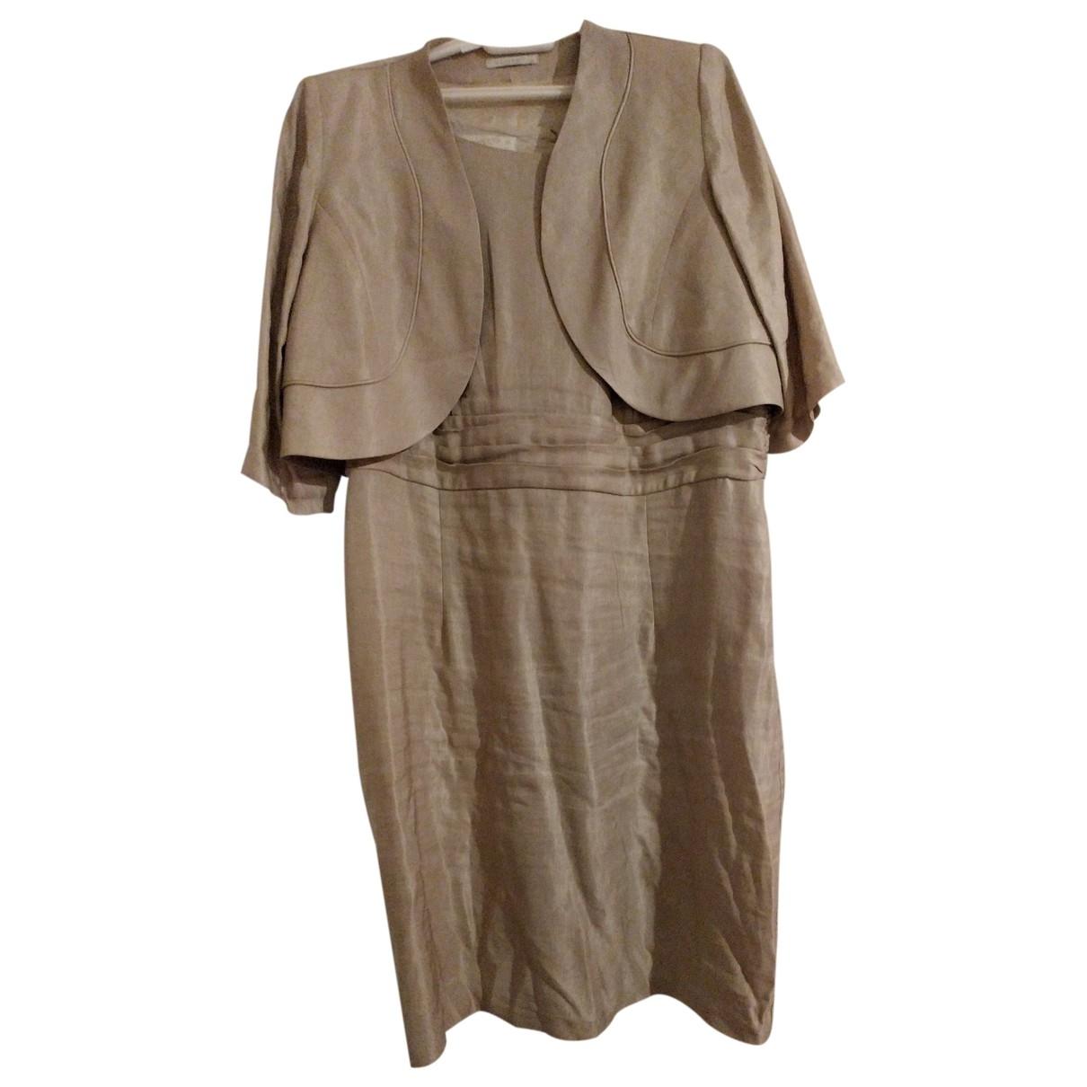 Non Signe / Unsigned \N Kleid in  Beige Leinen