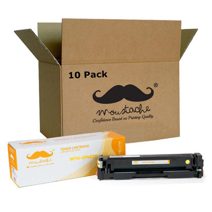 Compatible HP 201X CF402X Yellow Toner Cartridge High Yield - Moustache - 10/Pack