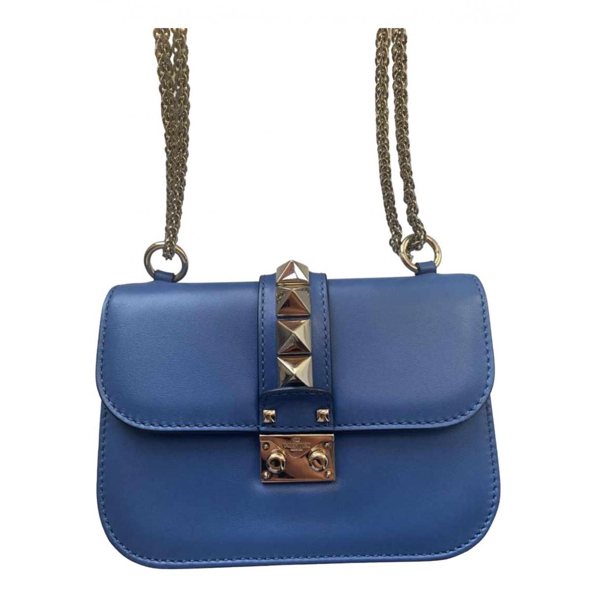Valentino Garavani Glam Lock Handtasche in  Blau Leder