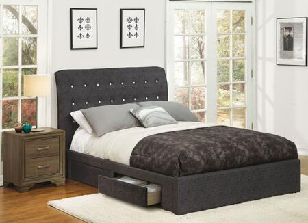 Drorit Collection 25680QN 2 PC Bedroom Set with Queen Size Bed + Nightstand in Dark Grey