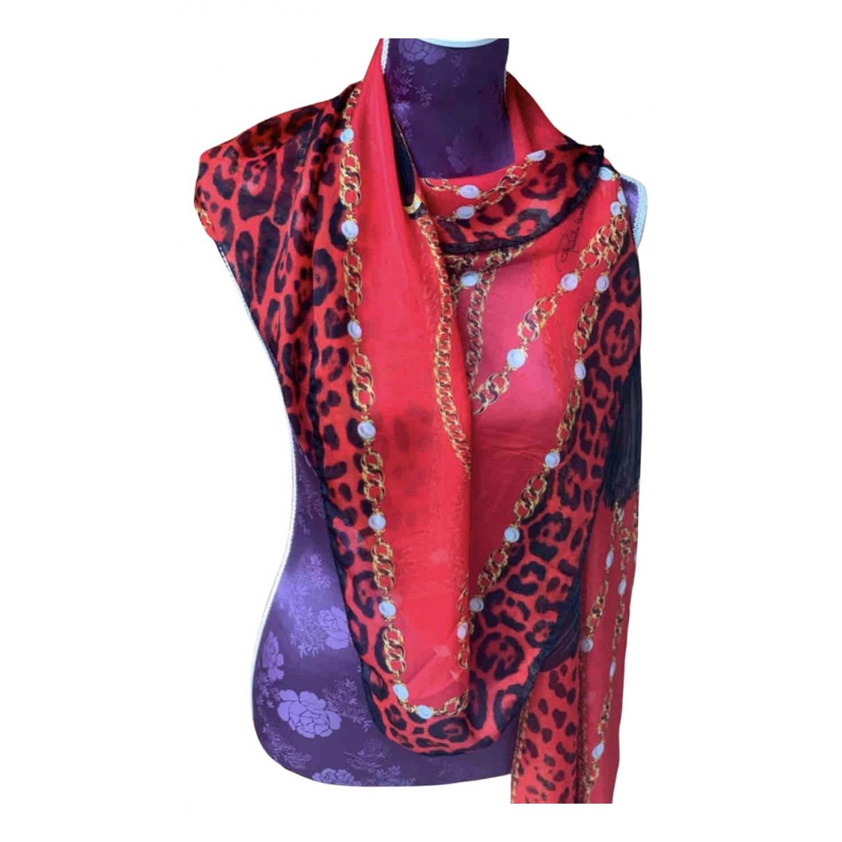 Roberto Cavalli - Carre   pour femme en soie - rouge