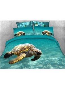 Swimming Sea Turtle Soft Warm Duvet Cover Set 4-Piece 3D Animal Bedding Set