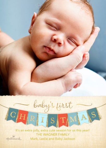 Christmas Photo Cards 5x7 Cards, Standard Cardstock 85lb, Card & Stationery -Baby's First Christmas