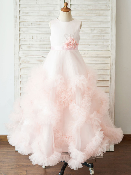Milanoo Flower Girl Dresses Jewel Neck Sleeveless Bows Kids Pink Party Dresses