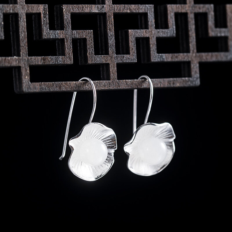 Vintage S925 Silver Temperament Earrings Hotan Jade Round Bead Leaf Pendant Earrings