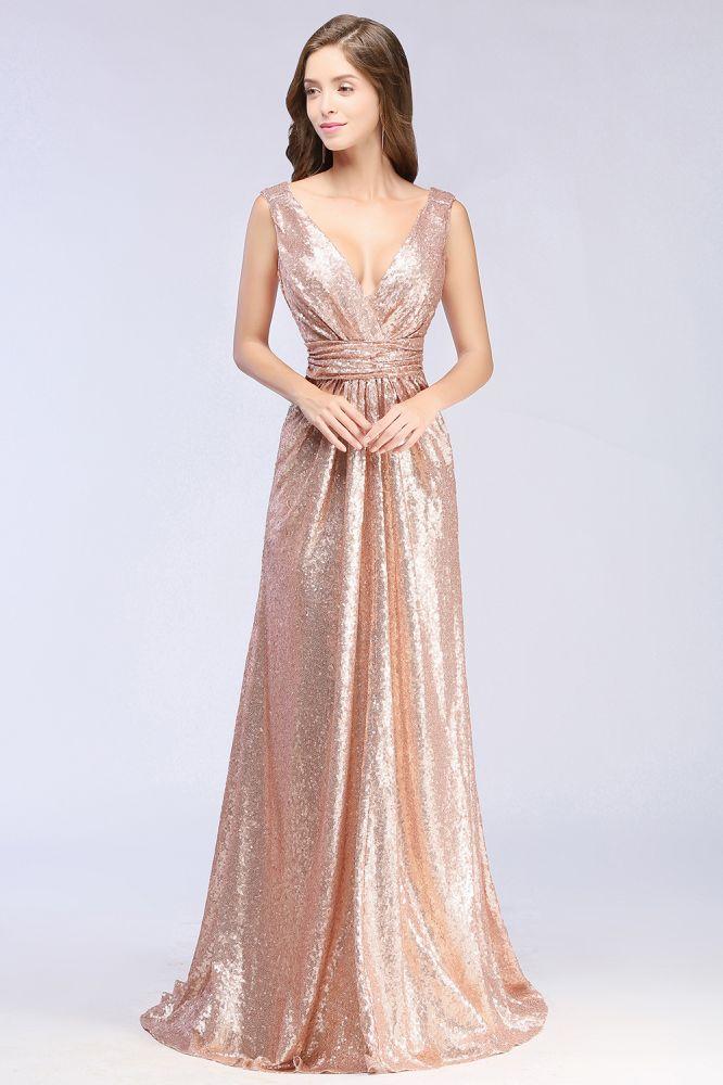 Elegant A-line Paillettes V-Neck Robe De Demoiselle Dhonneur De Longueur De Plancher Sans Manches