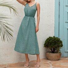 Cami Kleid mit Punkten Muster und seitlichen Knoten