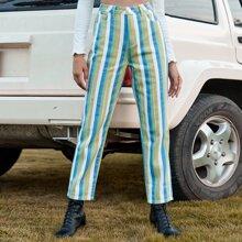 Slant Pocket Striped Jeans