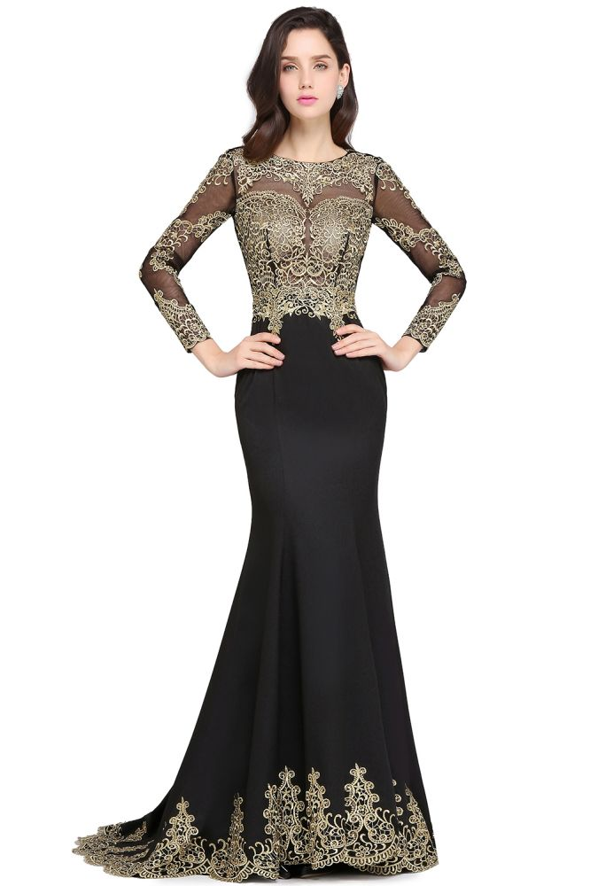 AMANDA | Mermaid Scoop bodenlangen schwarzen eleganten Abendkleider mit Applikationen
