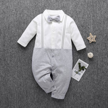 Baby Boy Bow Tie Striped Tape Spliced Jumpsuit