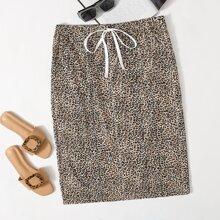 Rock mit Band auf Taille und Leopard Muster