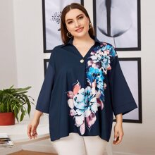 Plus Collared Drop Shoulder Buttoned Front Floral Top