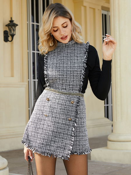 YOINS Button Design Plaid Crew Neck Sleeveless Dress