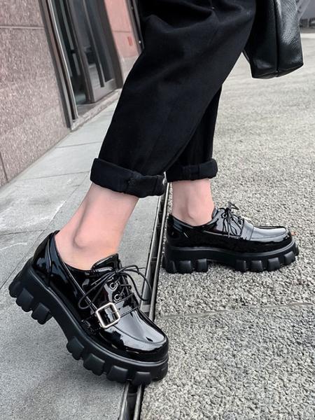 Milanoo Zapatos casuales negros Mujer Flatform Punta redonda Detalle de hebilla con cordones Oxfords