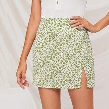 Ditsy Floral Print Split Skirt