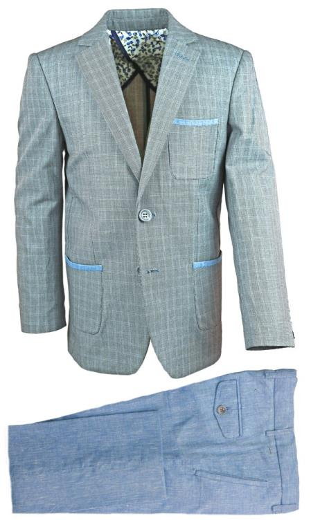 Mens Single Breasted Gray Linen Suit And Pant