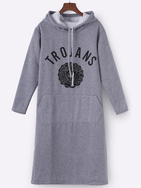 Yoins Grey Hooded Design Printed Front Pocket Sweatshirt Dress