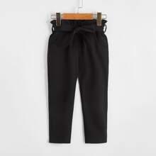 Pantalones con cinturon de cintura con volante