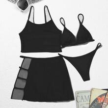 4 piezas bañador bikini tanga triangulo con malla en contraste