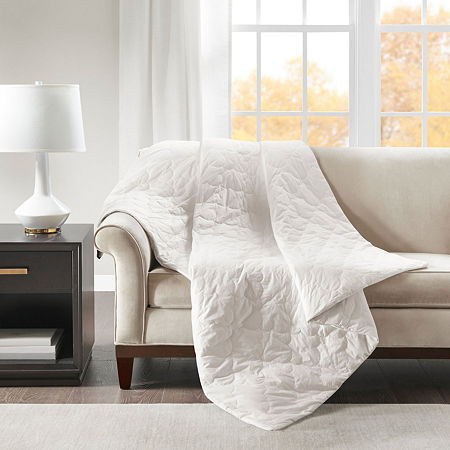 Beautyrest Deluxe Quilted Cotton Removable Cover Weighted Blanket, One Size , White