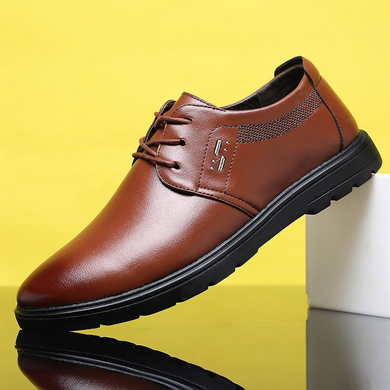 Men PU Leather Comfy Breathable Non Slip Casual Driving Shoes