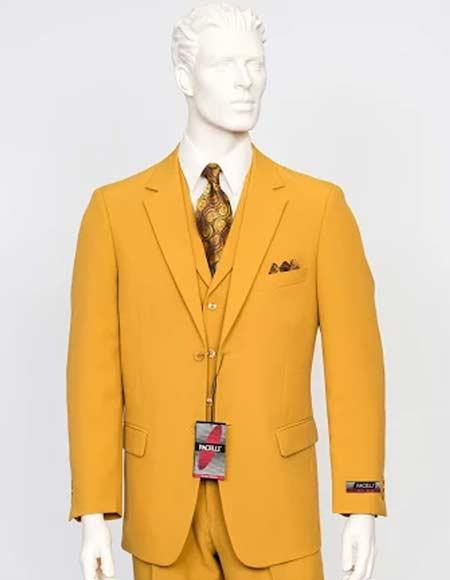 Mens Gold Mustard Yellowish CAMERON Color Suit Vested 3 Pieces Suit