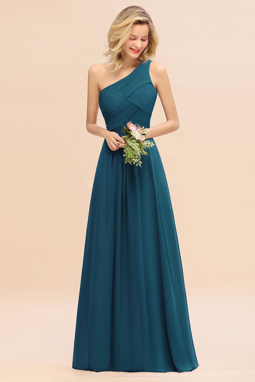 BMbridal Chic One Shoulder Ruffle Grape Chiffon Bridesmaid Dresses Online