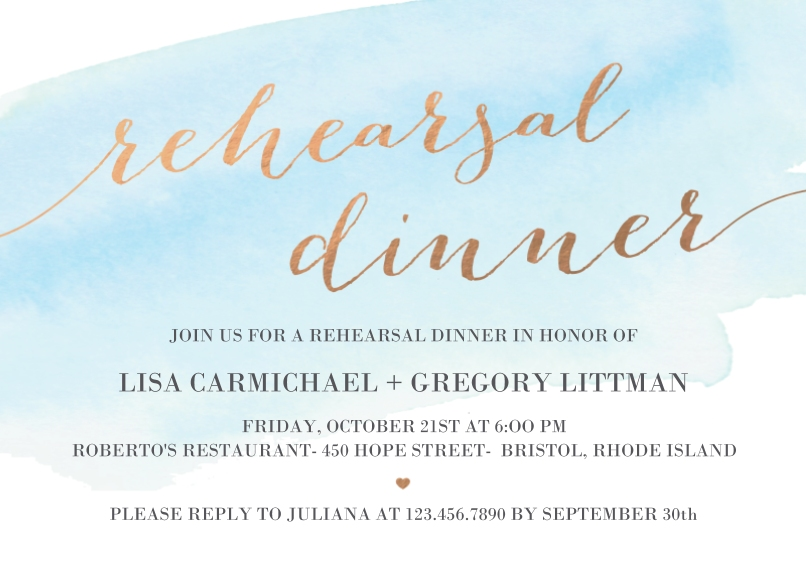 Rehearsal Dinner Invites 5x7 Cards, Premium Cardstock 120lb with Scalloped Corners, Card & Stationery -Married Hearts - Rehearsal Dinner Invitation
