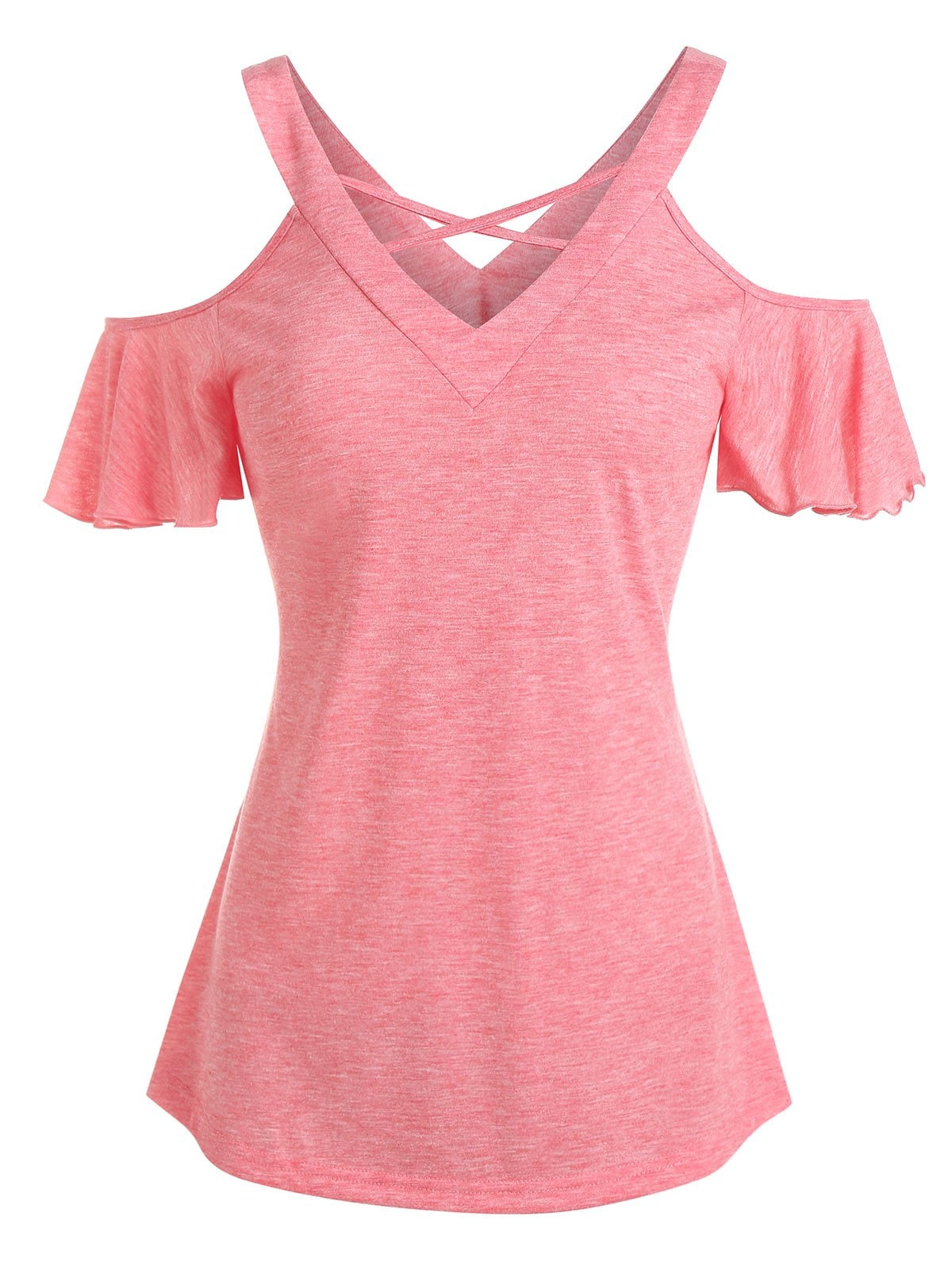 Criss Cross Cold Shoulder Butterfly Sleeve T-Shirt