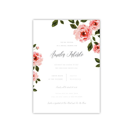 20 Pack of Style Me Pretty Floral Bridal Shower Personalized Invitation in White   5